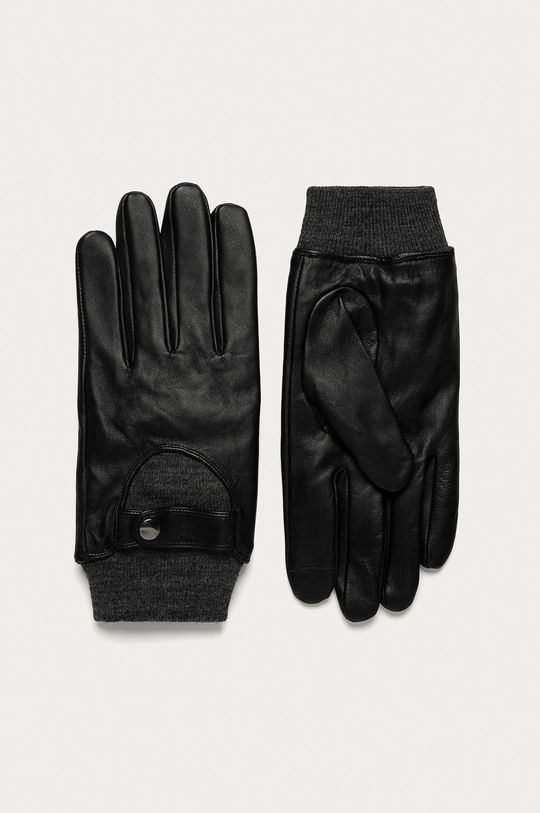 čierna Medicine - Kožené rukavice Basic Pánsky