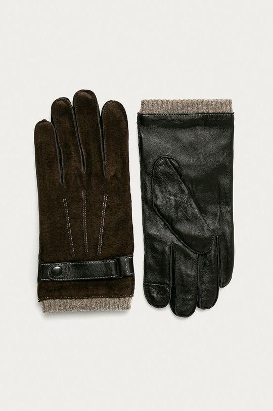 brązowy Medicine - Rękawiczki skórzane Basic Męski