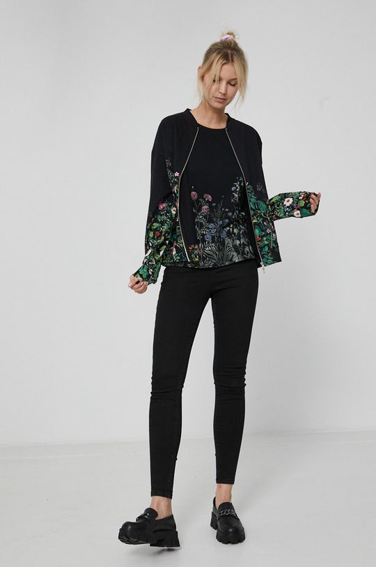 Medicine - Top bawełniany Dark Blooms czarny