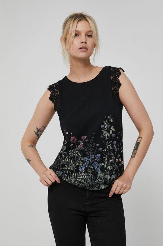 czarny Medicine - Top bawełniany Dark Blooms