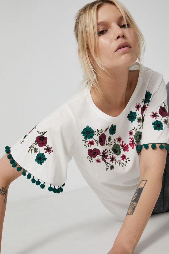 kremowy Medicine - T-shirt bawełniany Dark Blooms Damski