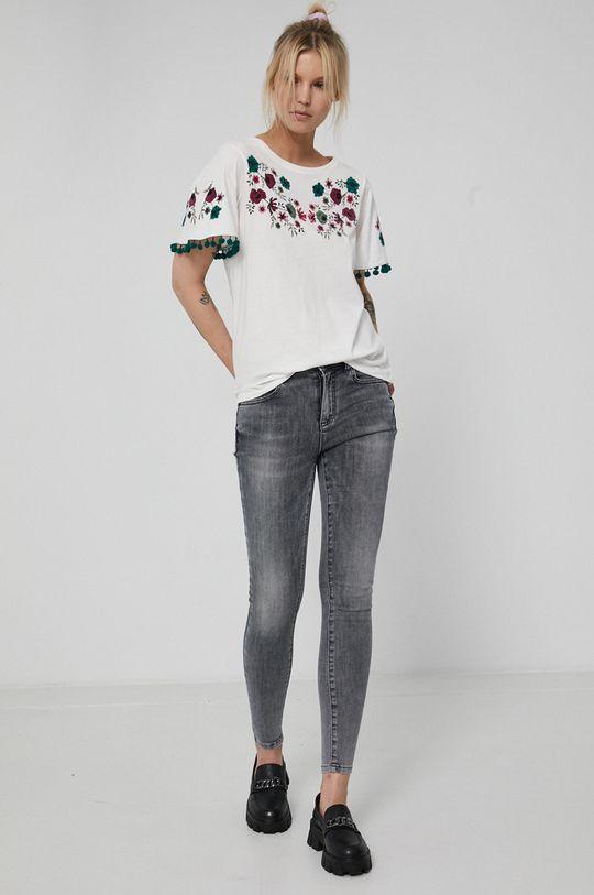 Medicine - T-shirt bawełniany Dark Blooms kremowy