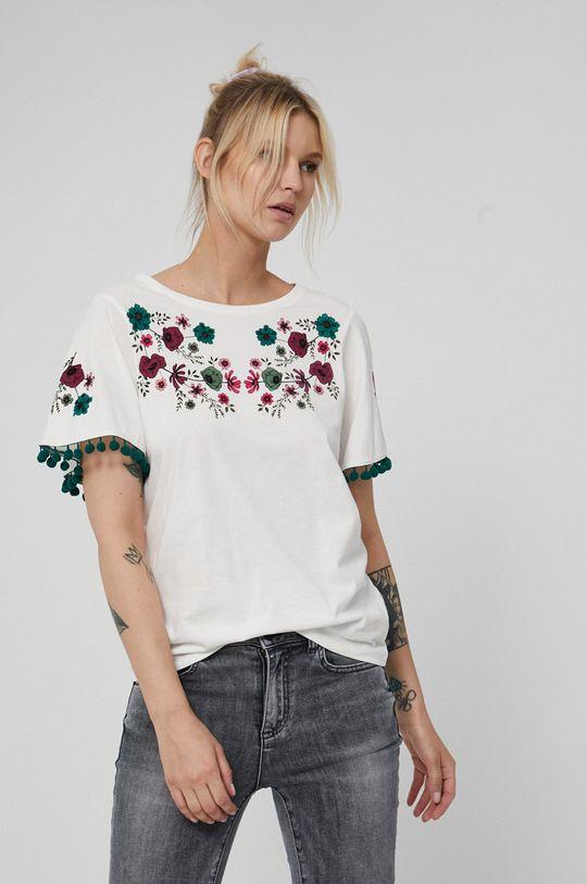 kremowy Medicine - T-shirt bawełniany Dark Blooms