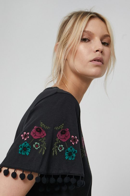 czarny Medicine - T-shirt bawełniany Dark Blooms