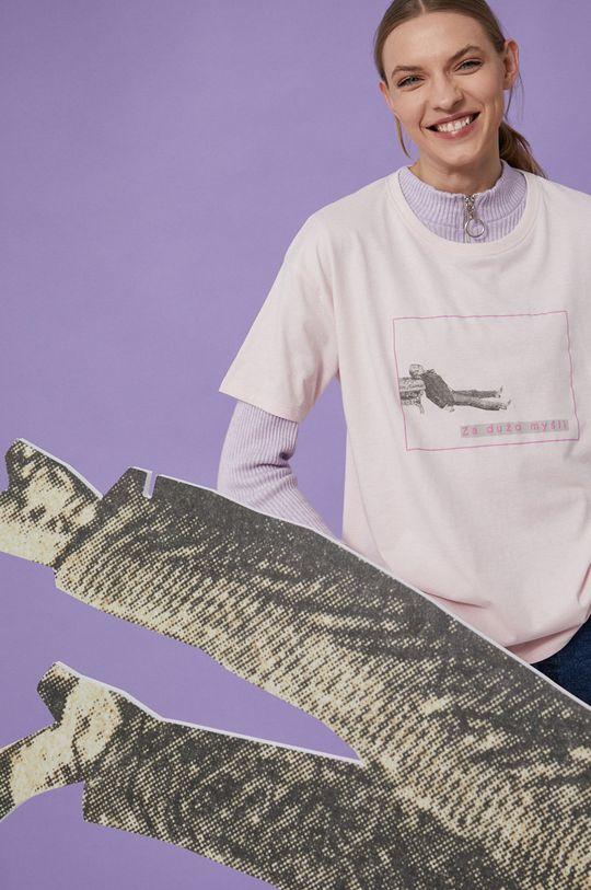 pastelowy różowy Medicine - T-shirt bawełniany Wisława Szymborska Damski