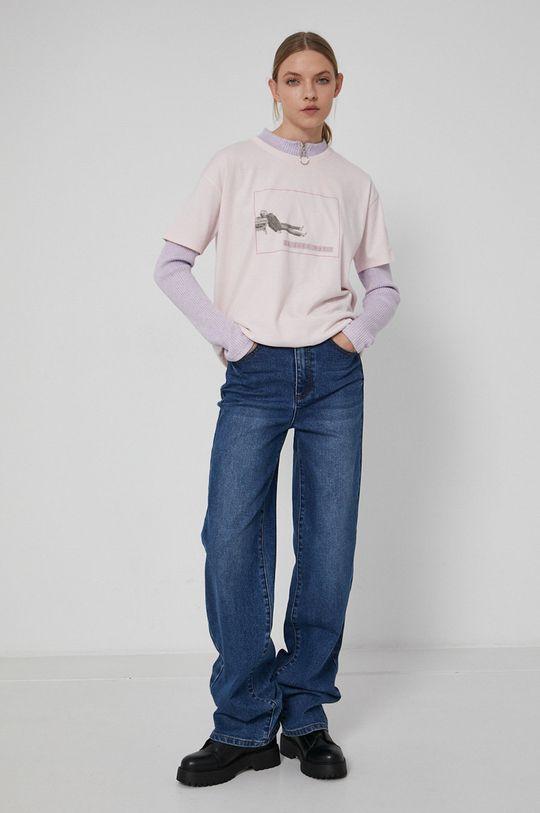 Medicine - T-shirt bawełniany Wisława Szymborska pastelowy różowy
