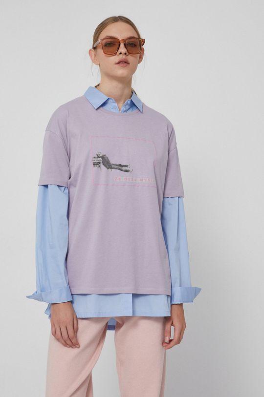 lawendowy Medicine - T-shirt bawełniany Wisława Szymborska