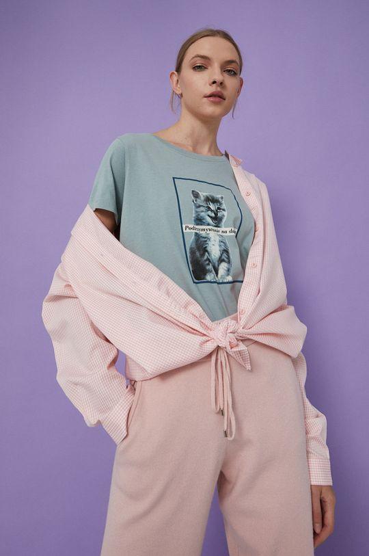 blady turkusowy Medicine - T-shirt bawełniany Wisława Szymborska Damski