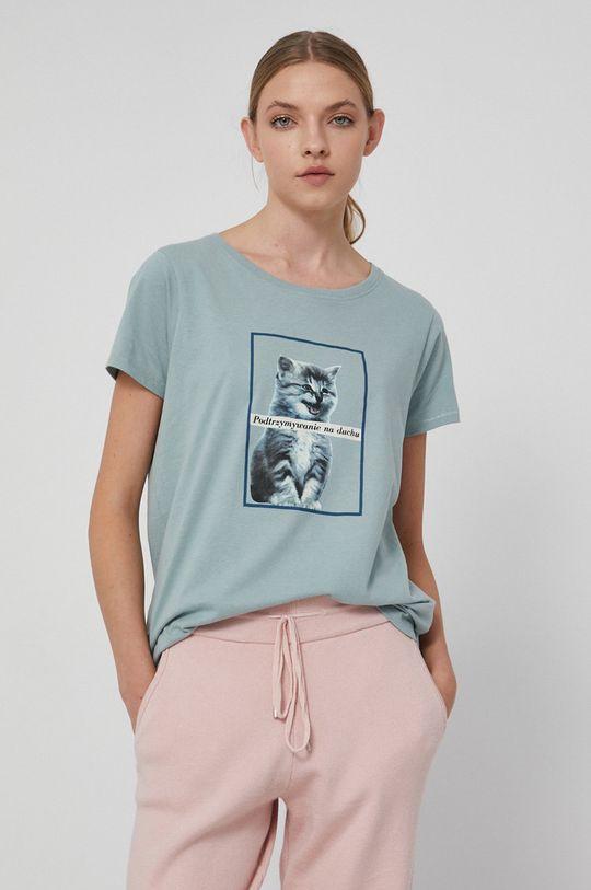 blady turkusowy Medicine - T-shirt bawełniany Wisława Szymborska