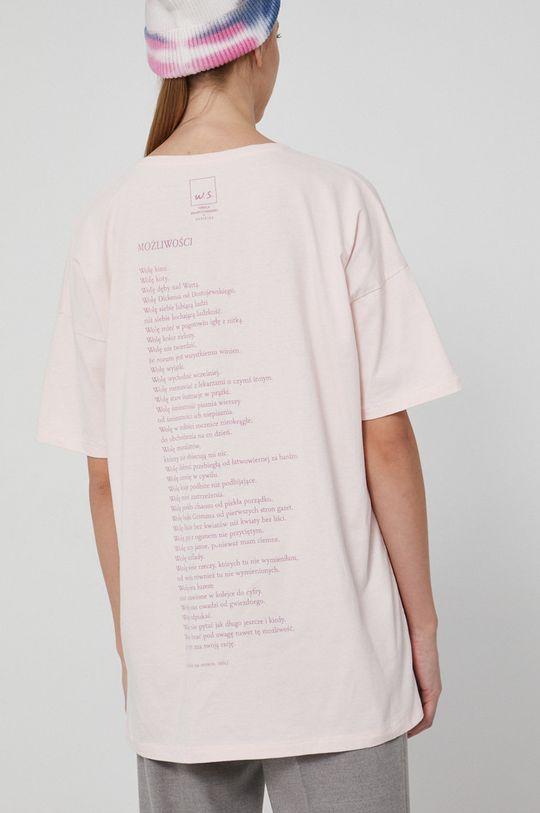 pastelowy różowy Medicine - T-shirt bawełniany Wisława Szymborska
