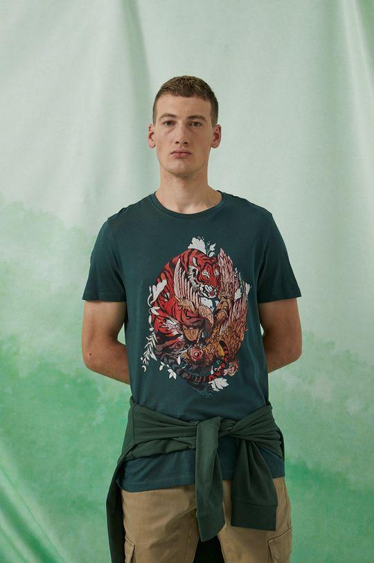 brudny zielony Medicine - T-shirt bawełniany by Sebastián Rubiano, Grafika Polska Męski