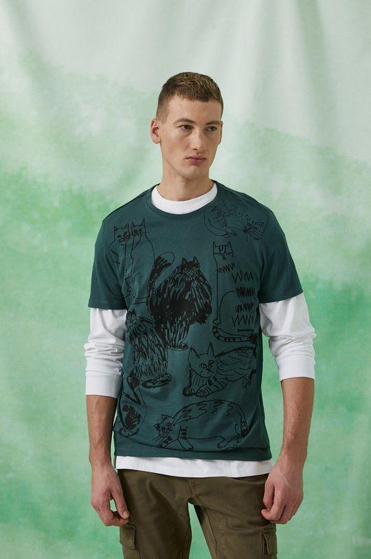 stalowy zielony Medicine - T-shirt bawełniany by Agnieszka Gajos, Grafika Polska Męski