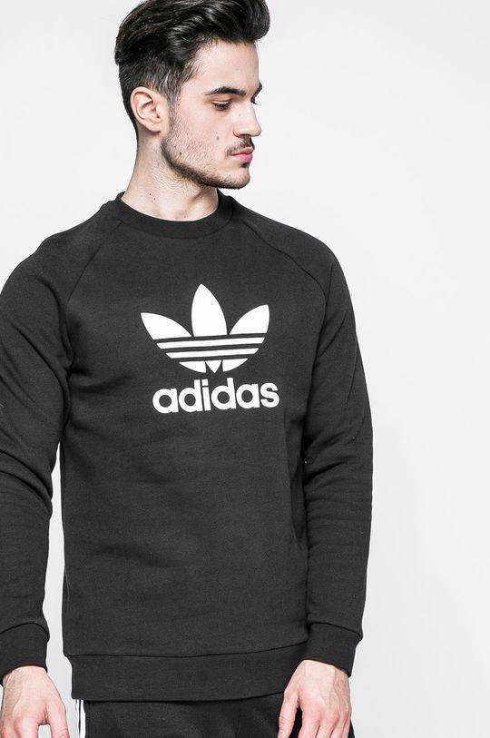 negru adidas Originals - Bluza Trefoil Crew De bărbați