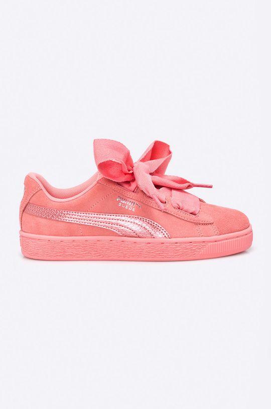 sýto ružová Puma - Topánky Suede Heart Dievčenský