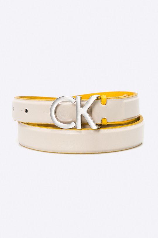 smetanová Calvin Klein Jeans - Pásek kožená Dámský
