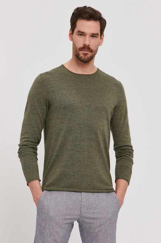 brudny zielony Selected - Sweter Męski