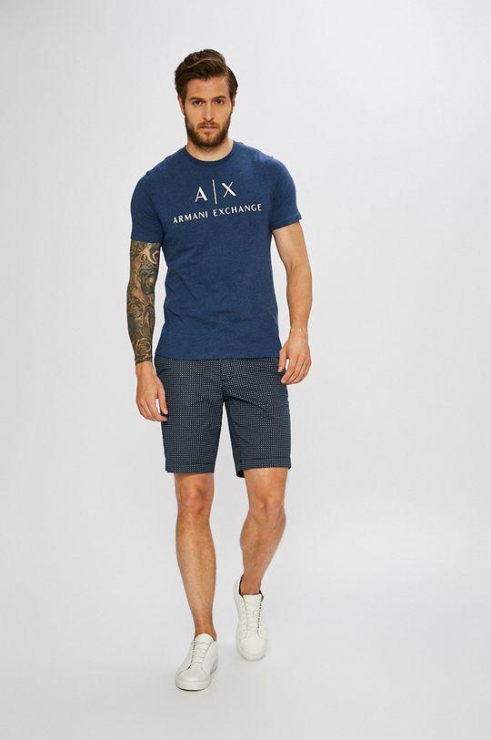 Armani Exchange - Pánske tričko oceľová modrá