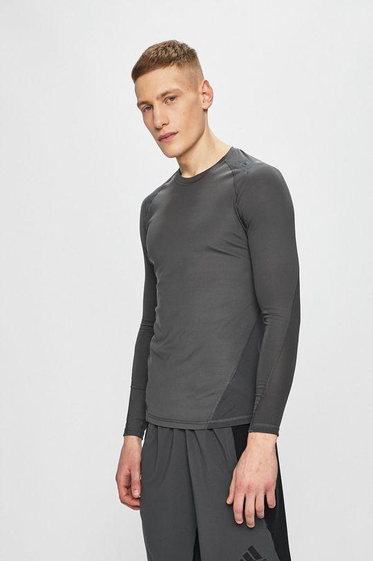 sivá adidas Performance - Pánske tričko s dlhým rukávom Pánsky
