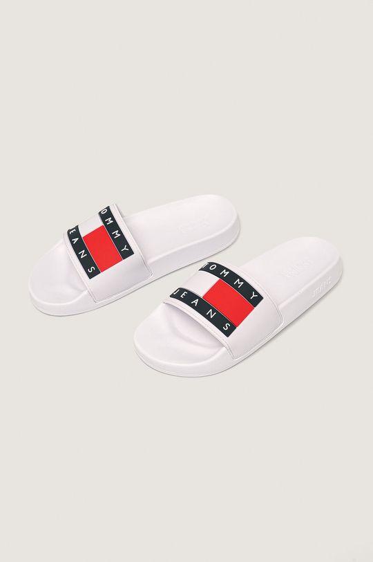 Tommy Jeans - Pantofle Flag Pool Slide bílá