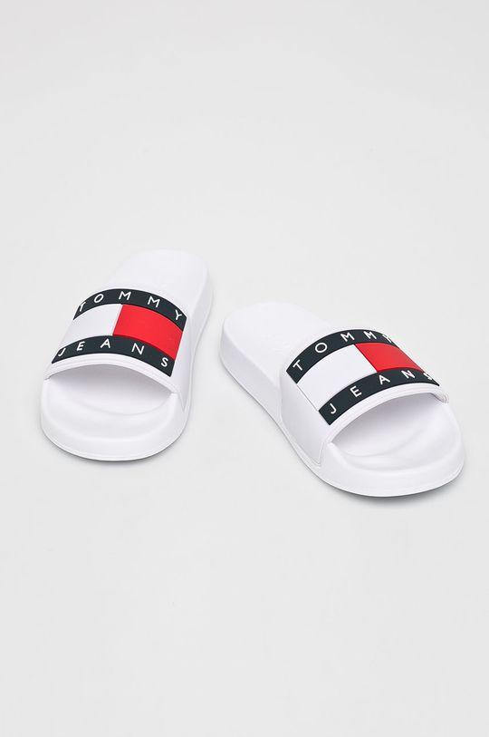 Tommy Jeans - Papucs cipő Flag Pool Slide fehér