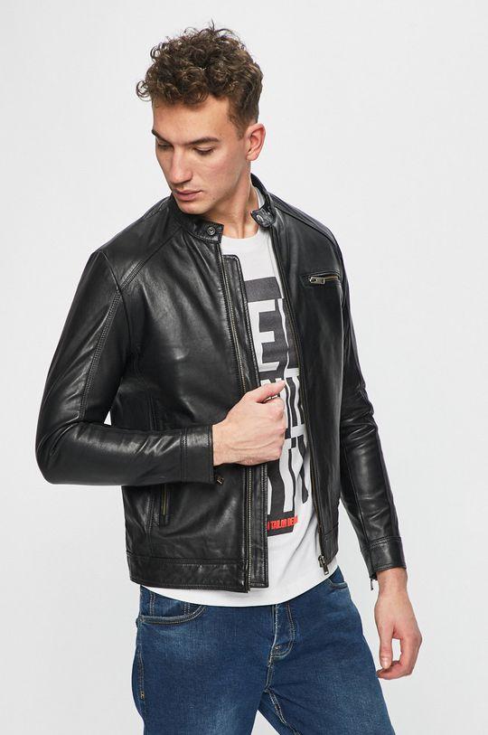 černá Selected - Kožená bunda Pánský
