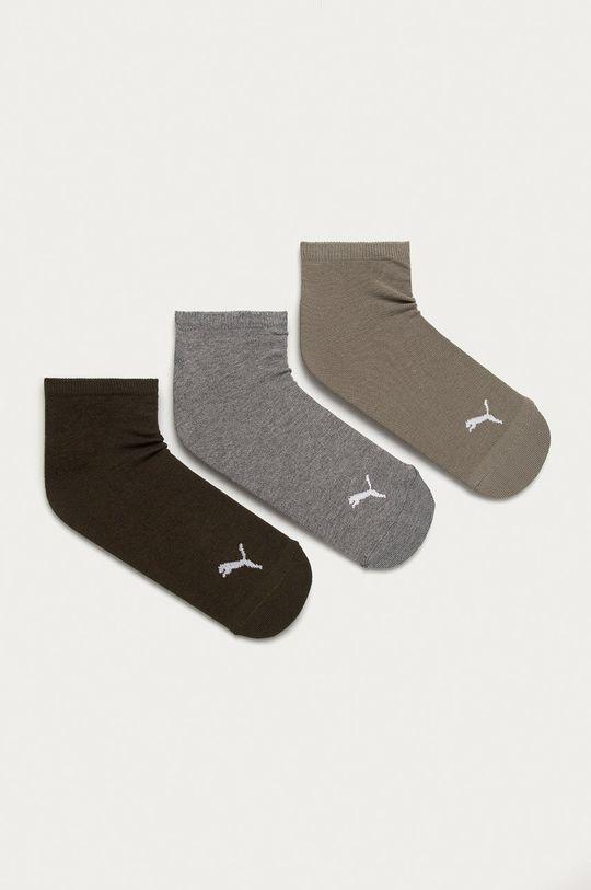 hnedozelená Puma - Ponožky (3-pak) Dámsky