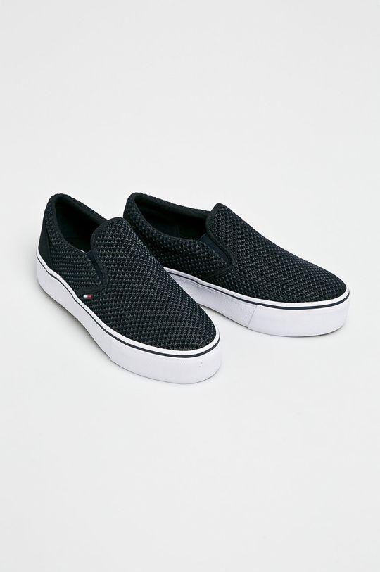 Tommy Jeans - Sportcipő Slipon Textile City Sneaker sötétkék