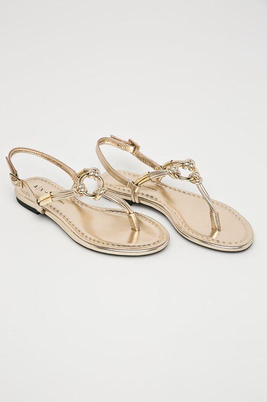 Armani Exchange - Sandále zlatá