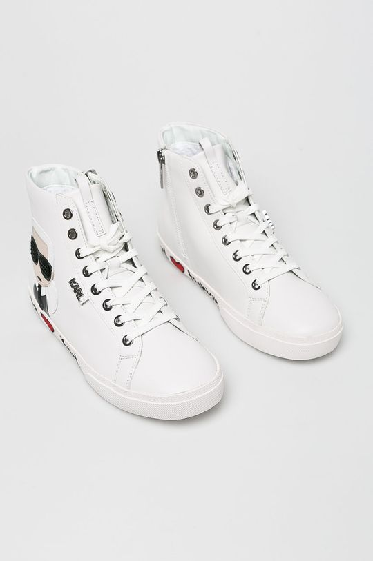 Karl Lagerfeld - Cipő Skool Karl Ikonic Hi Lace fehér