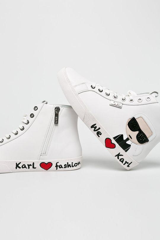 Karl Lagerfeld - Cipő Skool Karl Ikonic Hi Lace  Szár: természetes bőr Belseje: textil Talp: szintetikus anyag Talpbetét: természetes bőr