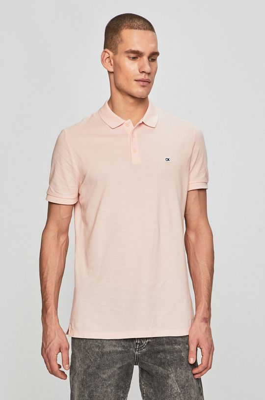 pastelově růžová Calvin Klein Jeans - Polo tričko Pánský