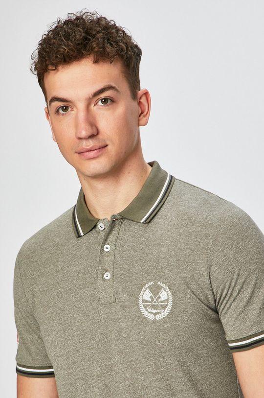 olivová Produkt by Jack & Jones - Pánske polo tričko Pánsky