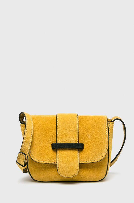 žlutá Pieces - Kožená kabelka Dámský