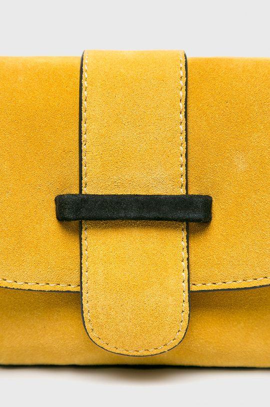 Pieces - Kožená kabelka žlutá