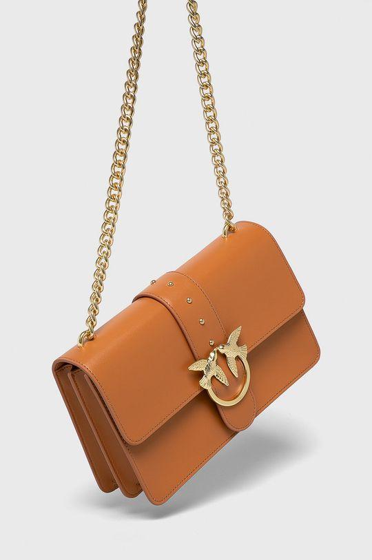 Pinko - Kožená kabelka hnědá