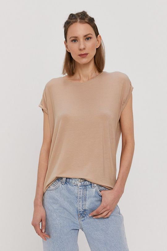 piaskowy Vero Moda - T-shirt Damski