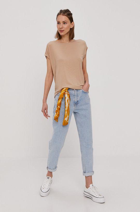 Vero Moda - T-shirt piaskowy