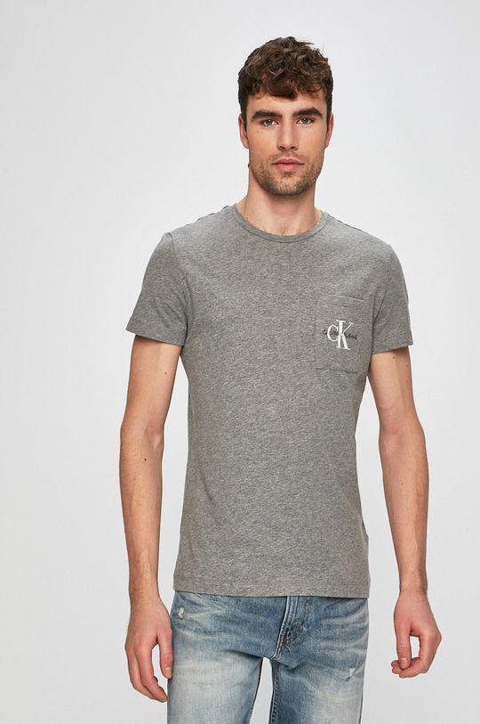 šedá Calvin Klein Jeans - Tričko Pánský