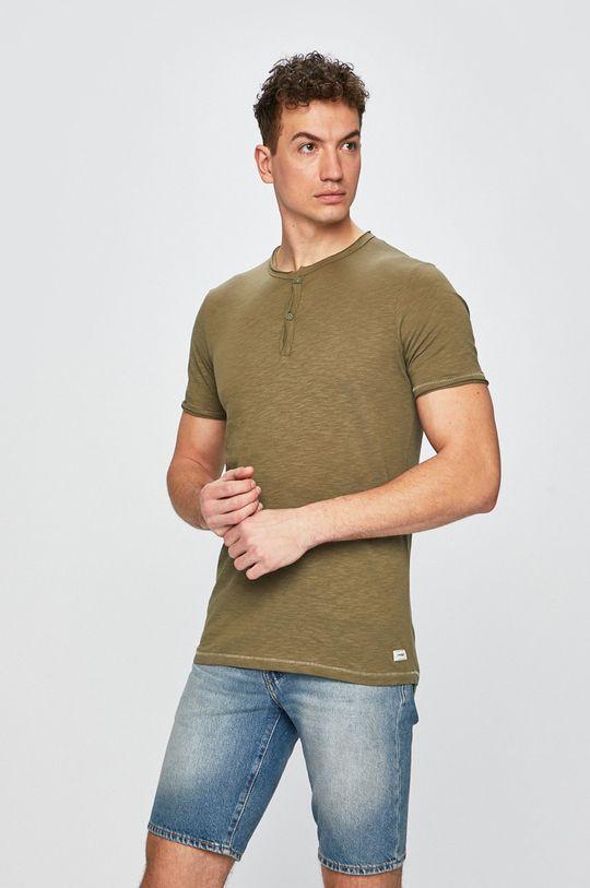 olivová Produkt by Jack & Jones - Pánske tričko Pánsky