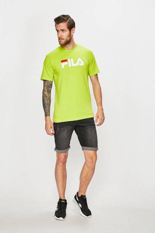 Fila - T-shirt żółto - zielony