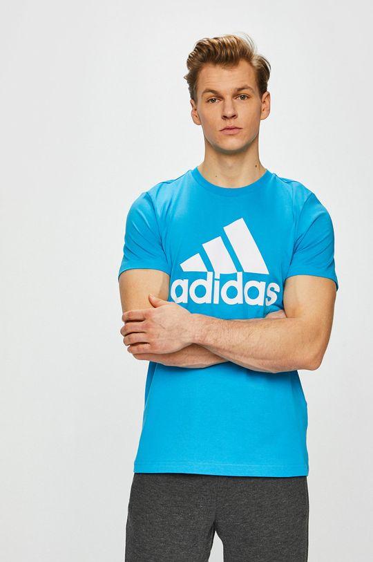 modrá adidas Performance - Pánske tričko Pánsky