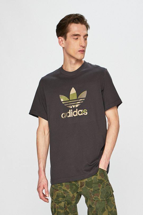 grafitová adidas Originals - Pánske tričko Pánsky