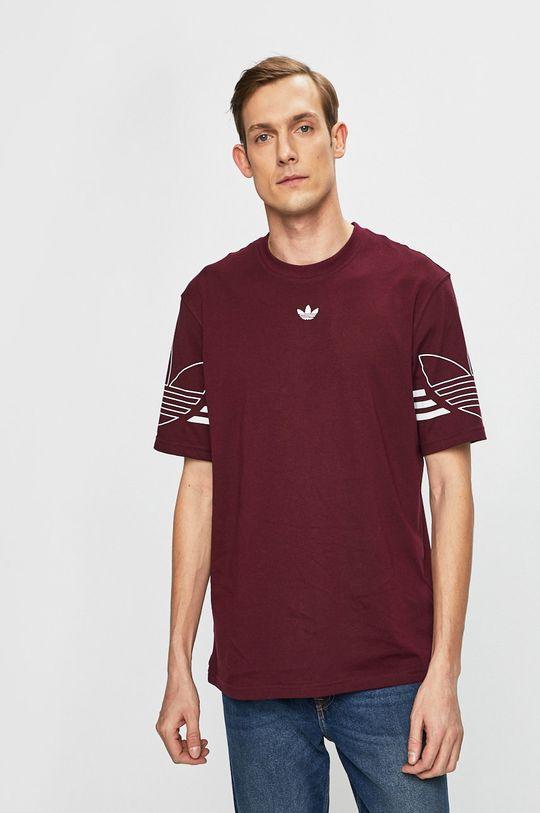 mahagóni vörös adidas Originals - T-shirt Férfi