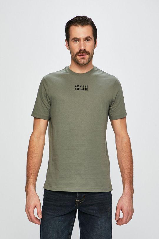 vojenská zelená Armani Exchange - Pánske tričko Pánsky