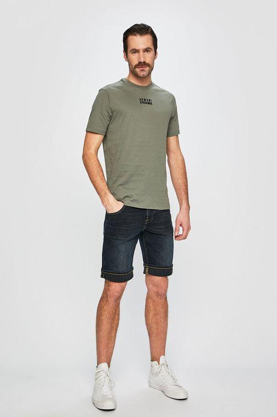 Armani Exchange - Pánske tričko vojenská zelená