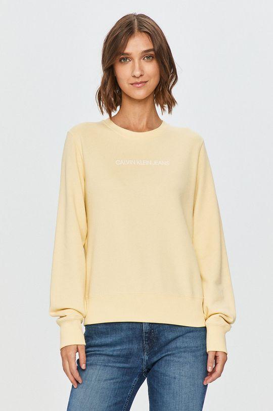 žltá Calvin Klein Jeans - Mikina Dámsky