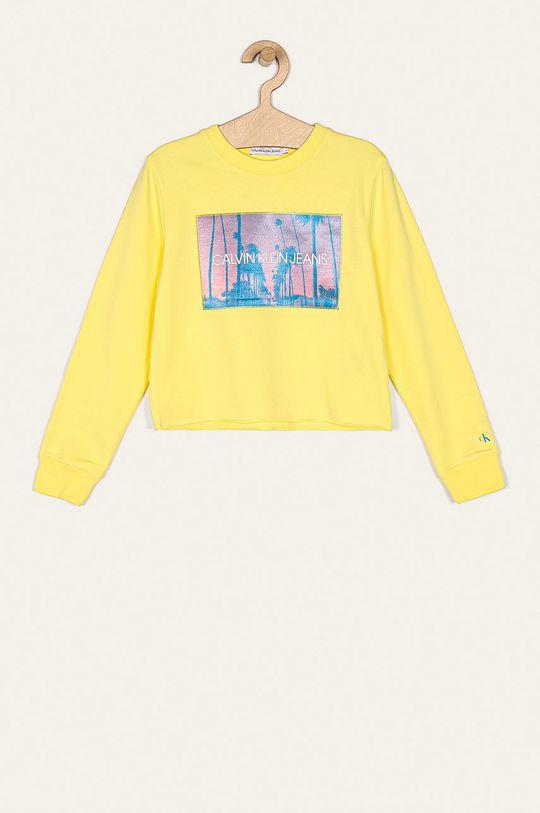 svetložltá Calvin Klein Jeans - Detská mikina 116-176 cm Dievčenský