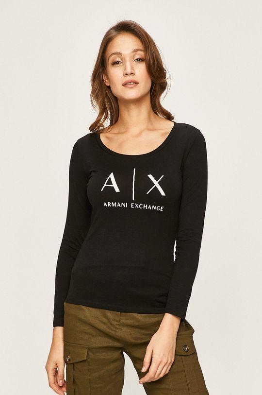 černá Armani Exchange - Tričko s dlouhým rukávem Dámský