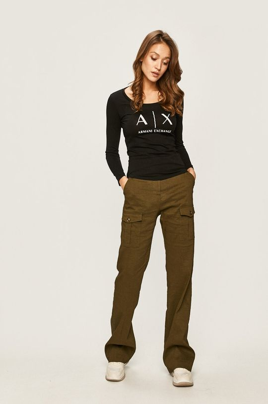 Armani Exchange - Tričko s dlouhým rukávem černá