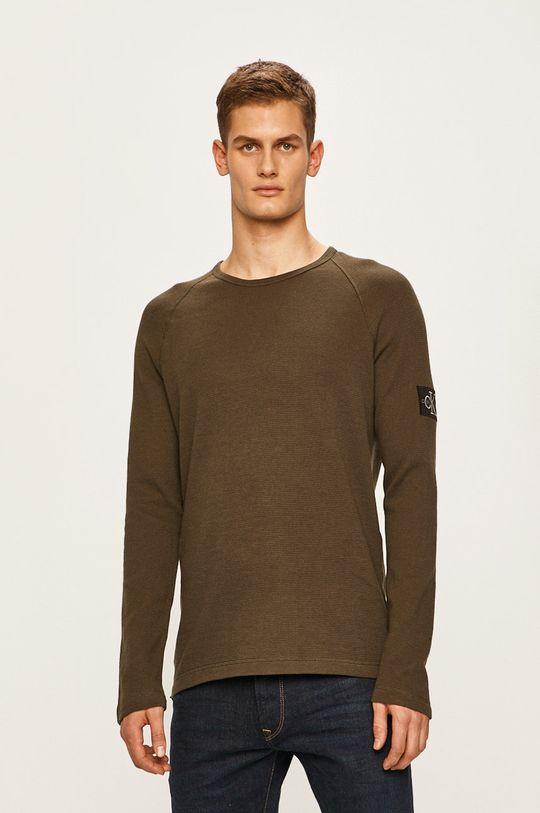 tlumená zelená Calvin Klein Jeans - Tričko s dlouhým rukávem Pánský